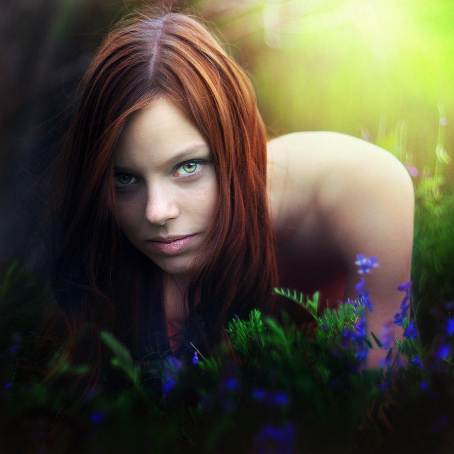portrait, smigol, color, red hair, eye, light, human, green, woman, Rafał Kurs