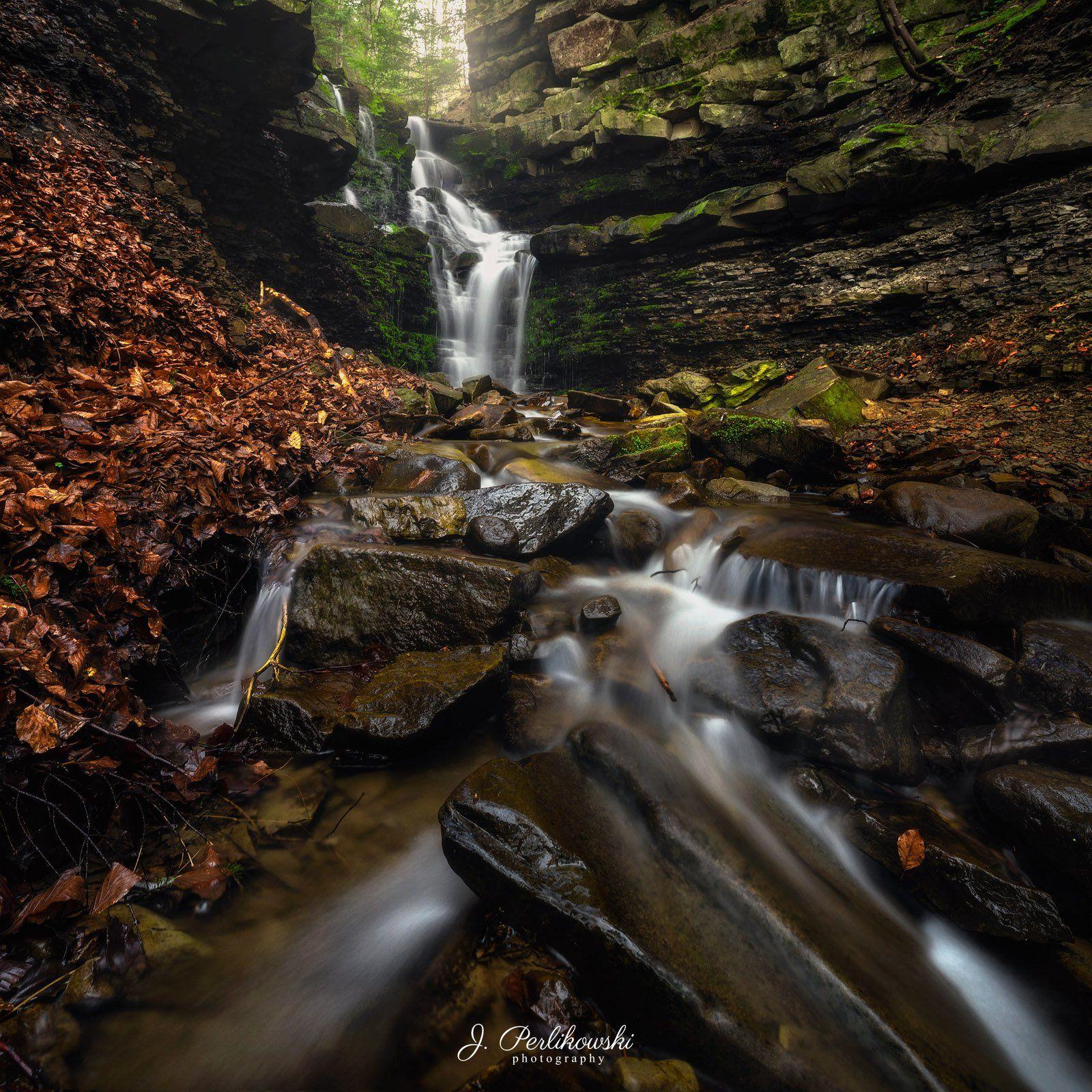 waterfall, forest, moody, long exposure, rainy, river, landscape, Perlikowski Jakub