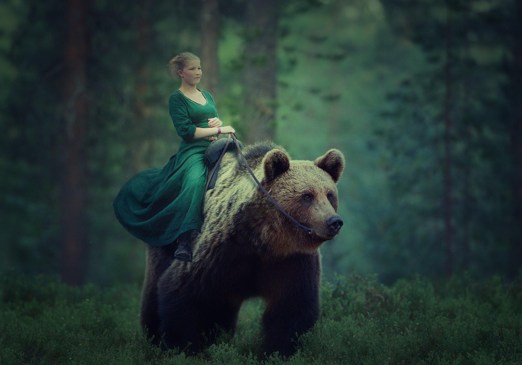 девочка, лес, медведь, Sergii Vidov