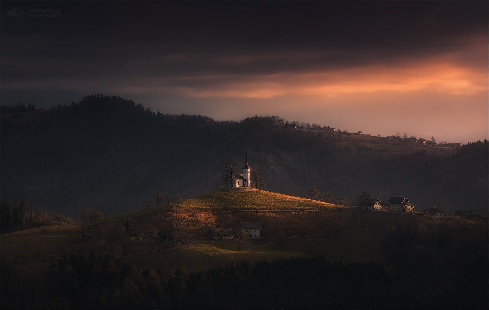 словения, церковь, альпы, осень, Slovenia, St.Thomas, church, церковь,Alps, Sveti Tomaž nad Praprotnim, Kamnik–Savinja Alps, Влад Соколовский