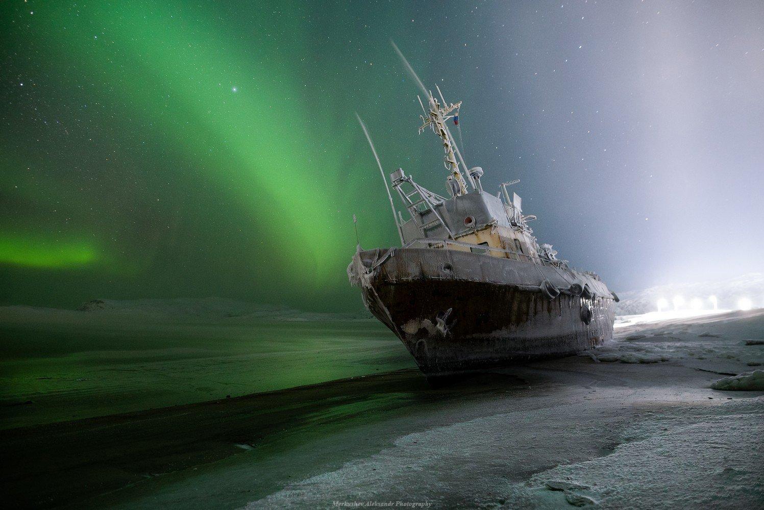 териберка, северное сияние, заполярье, аврора, полярное сияние, ночь, кораблекрушение, звезды, Меркушев Александр