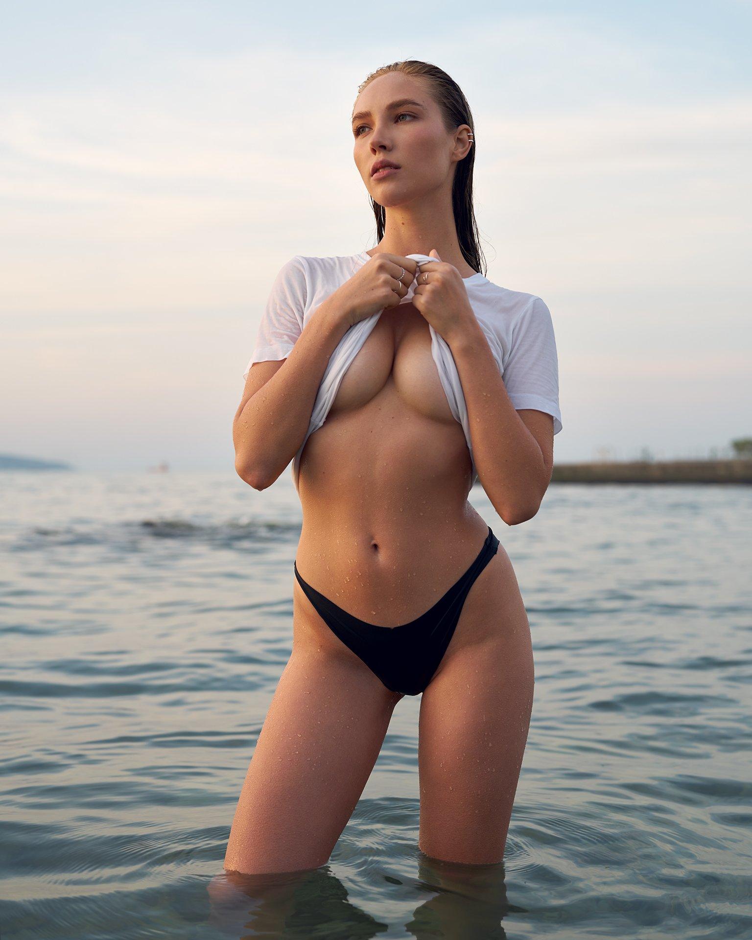 sea, novorossiysk, girl, portrait, wet, dawn, sunrise, morning, sexy, Роман Филиппов