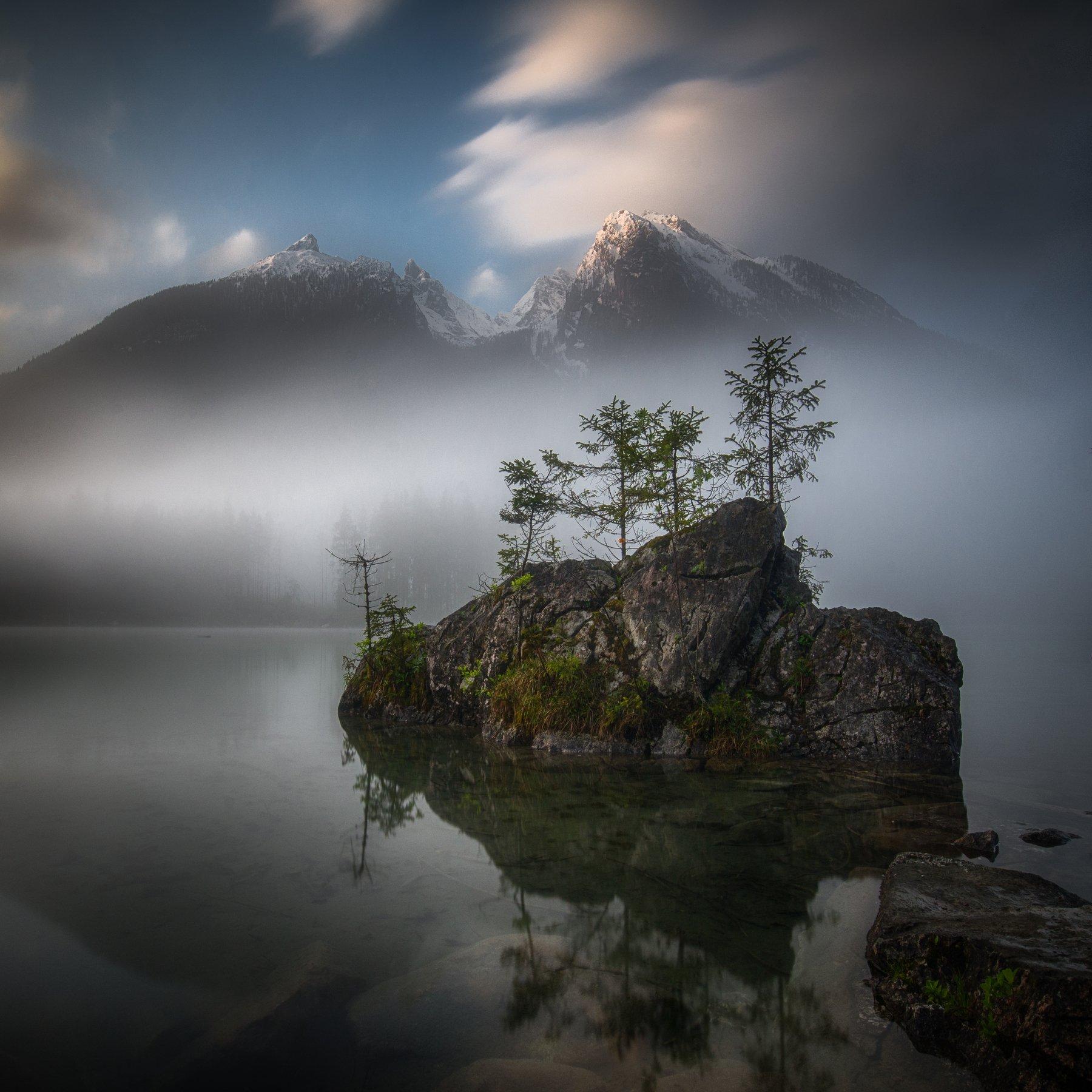 landscape,mountains,lake,morning,nature,fog,travel,earth,spring, Olegs Bucis