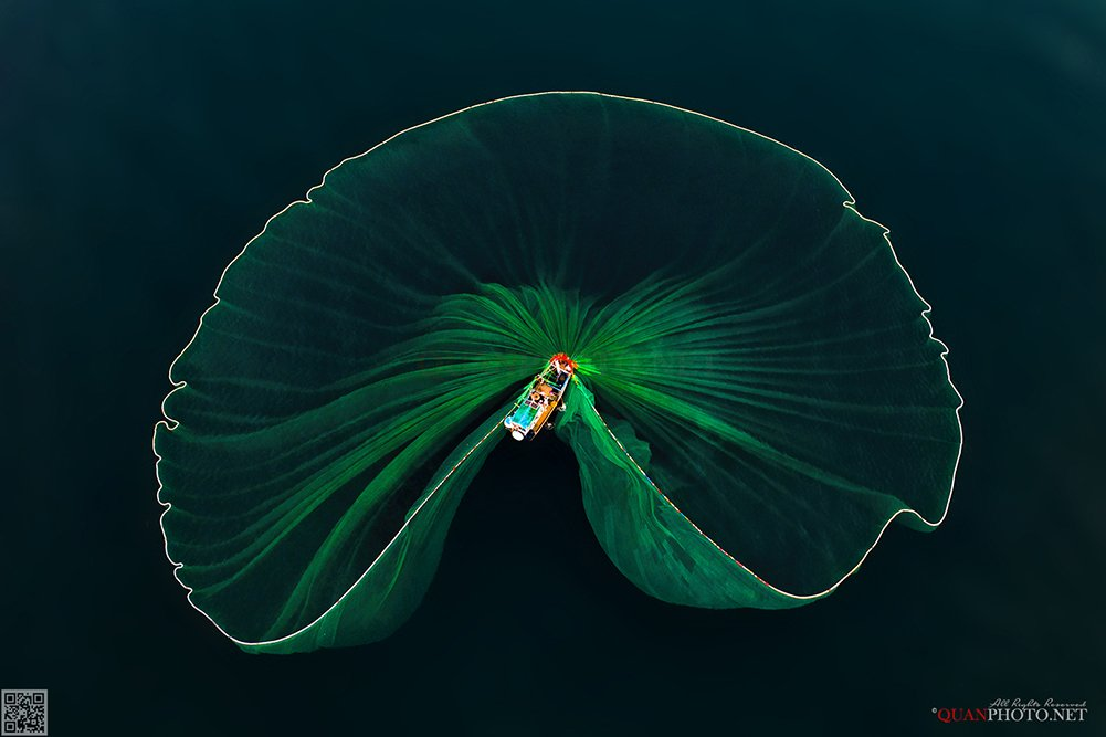 quanphoto, casting_net, sea, lagoon, flycam, vietnam, quanphoto