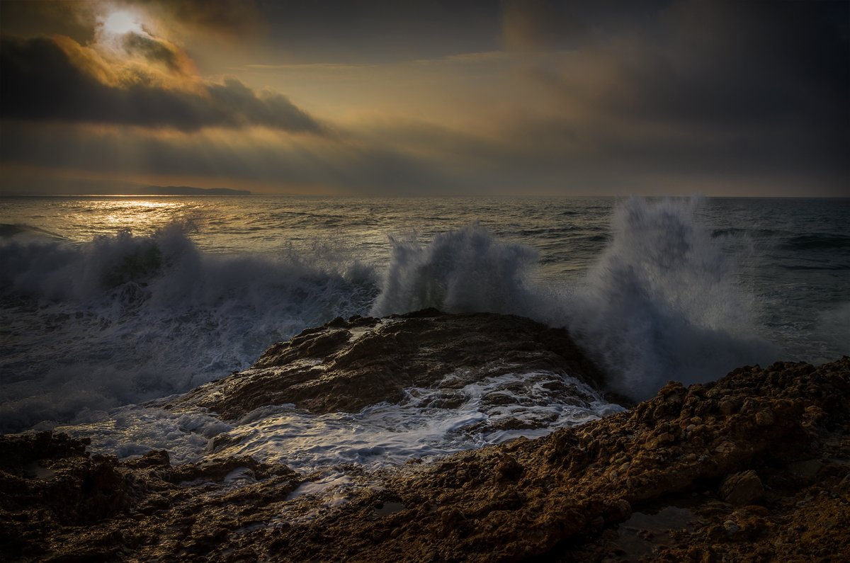landscape nature scenery sea light morning sunrise down waves rocks clouds sunrays view sky пейзаж море рассвет, Александров Александър