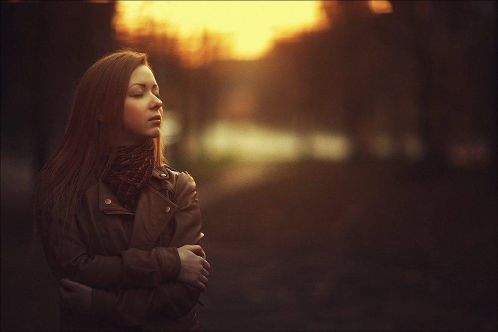 autumn, color, portrait, girl, yellow, sunset, портрет, Данила Лопаткин