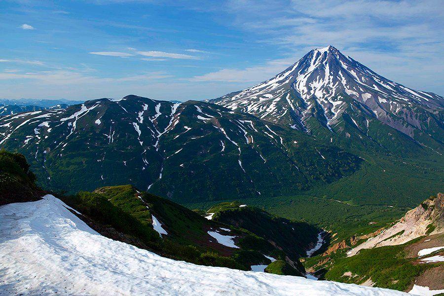 камчатка, вулкан, вилючинский, путешествия, лето, снег, Денис Будьков