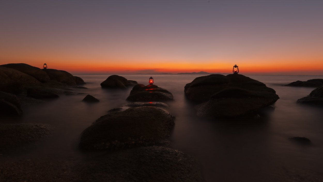 thailand, sunset, stones, lamp, Борис Богданов