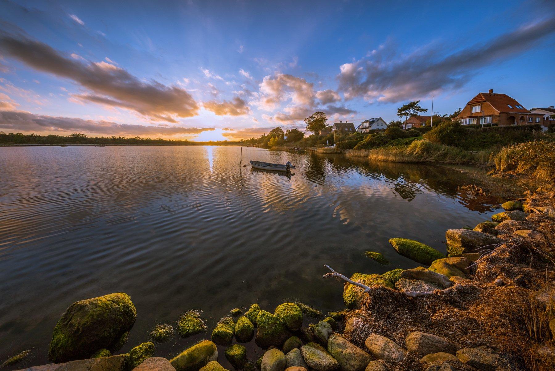 дания, остров, море, берег, лодка, солнце, закат,, Marat Max (Марат Макс)