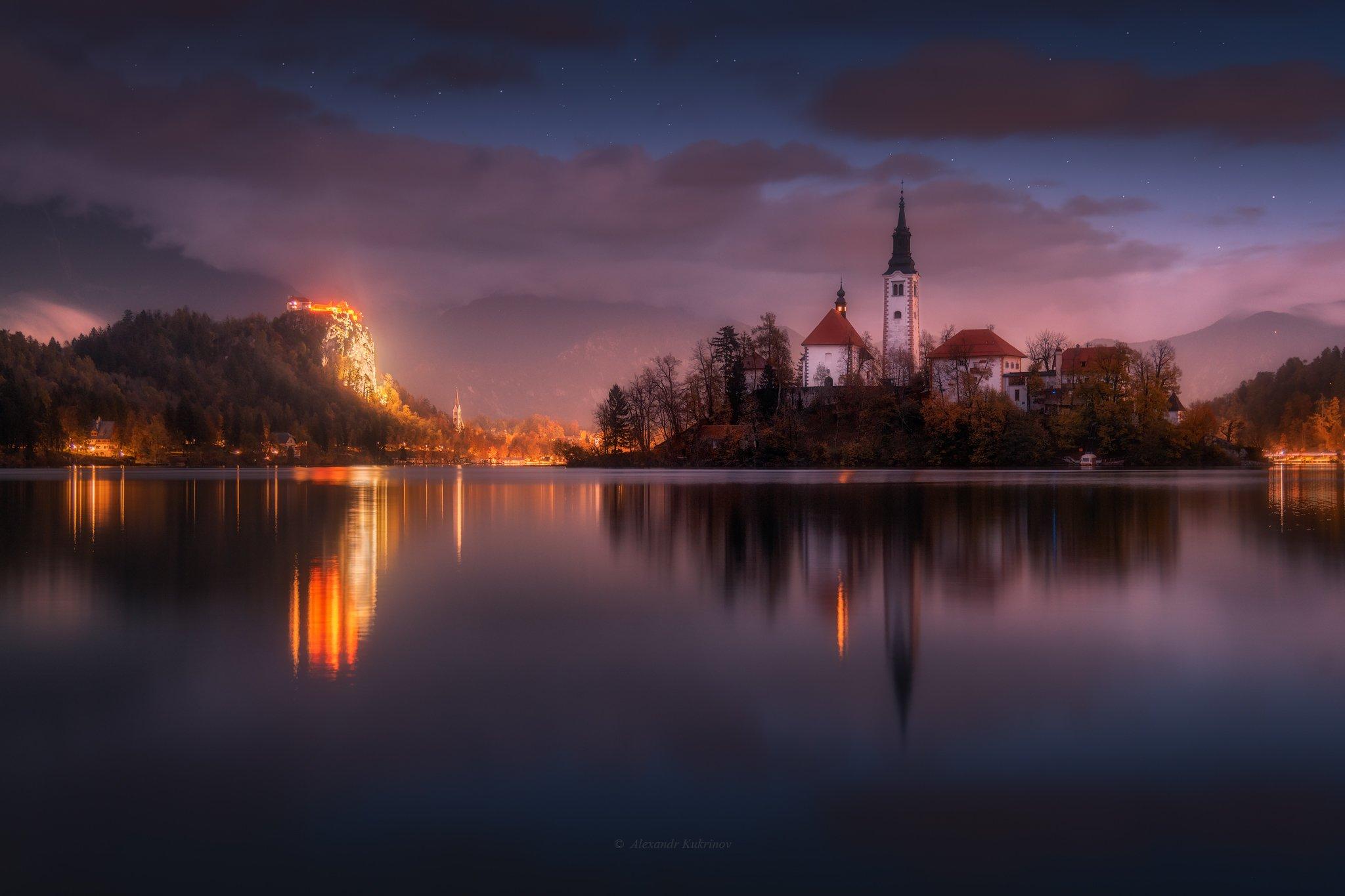 словения, осень, блед, ночь, звёзды, Александр Кукринов
