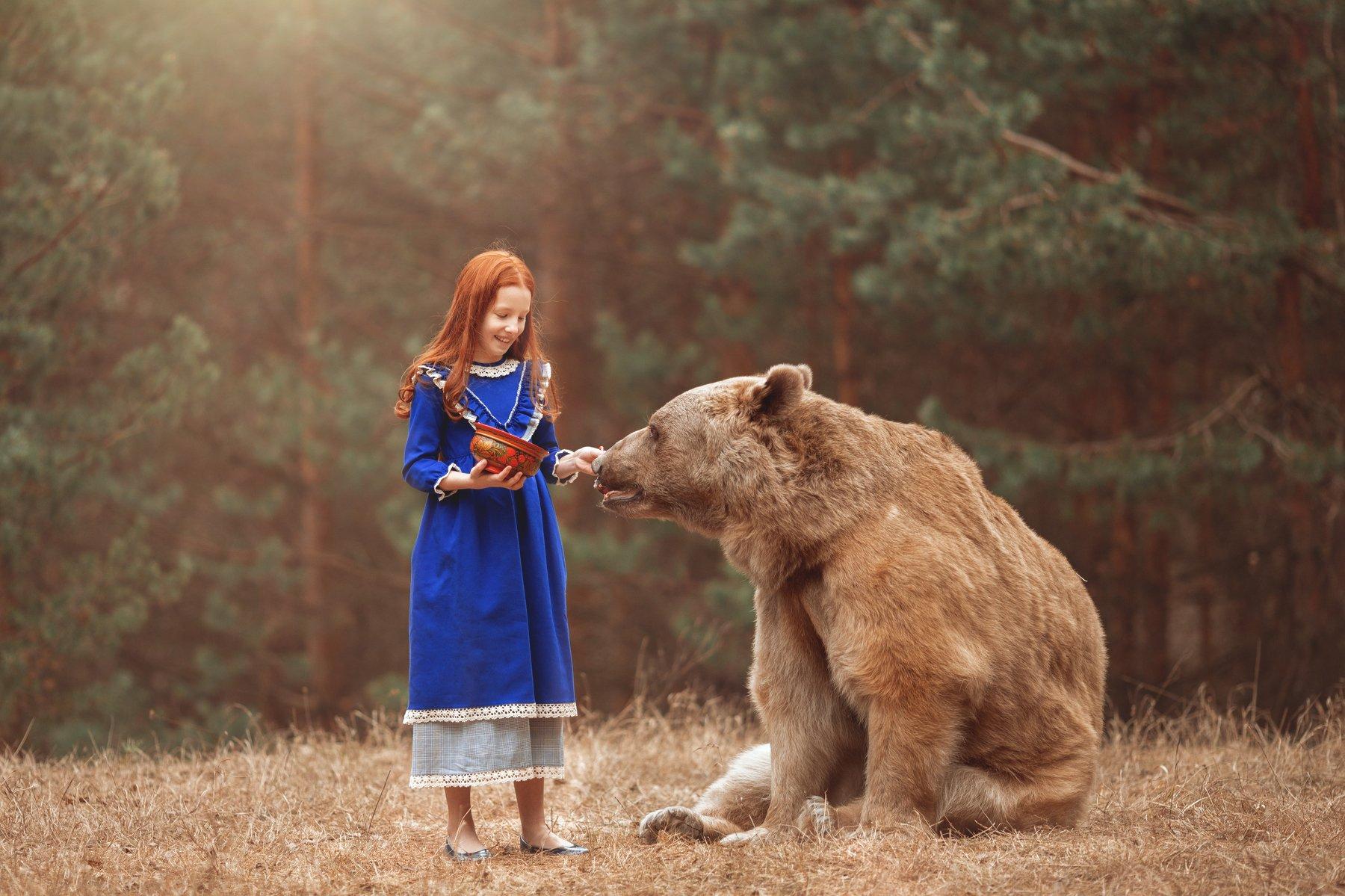 фотограф москва, детский фотограф москва, детская фотосессия москва, фотосессия с животными, медведь Степан, Черкасова Маргарита