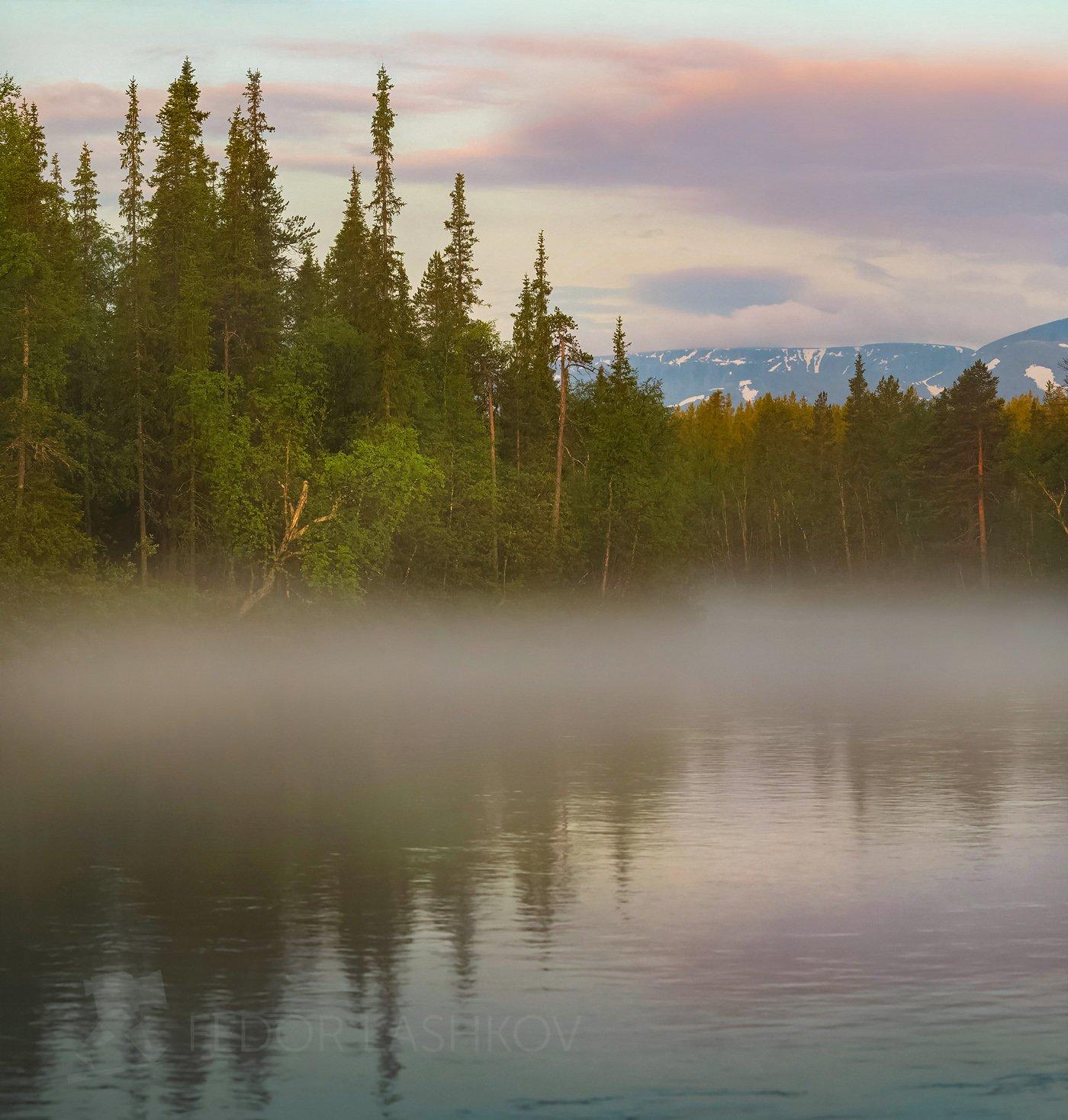 хибины, горы, рассвет, тучи, облака, озеро, лето, отражение, вода, туман, на берегу, деревья,, Лашков Фёдор