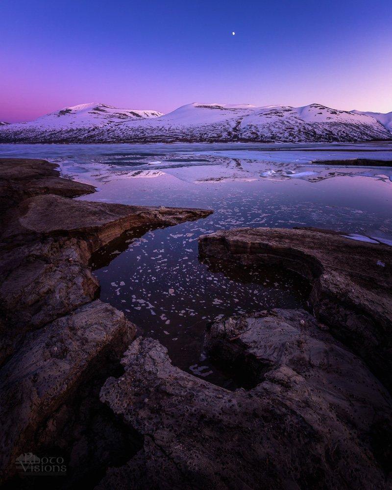 night,colours,lake,mountains,norway,trollheimen,midnight,moon,, Szatewicz Adrian