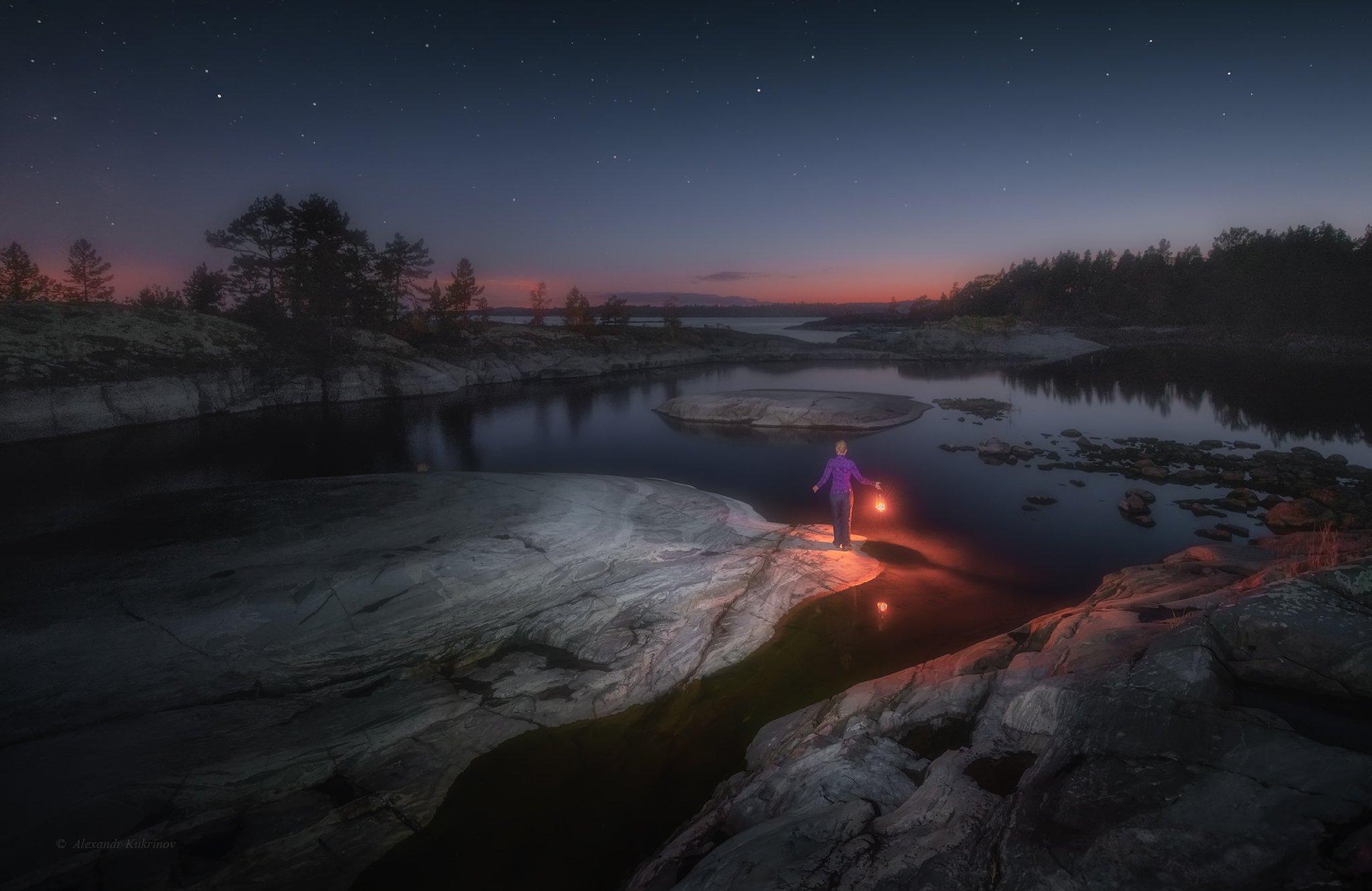 ладога, ночь, звёзды, пейзаж, Александр Кукринов