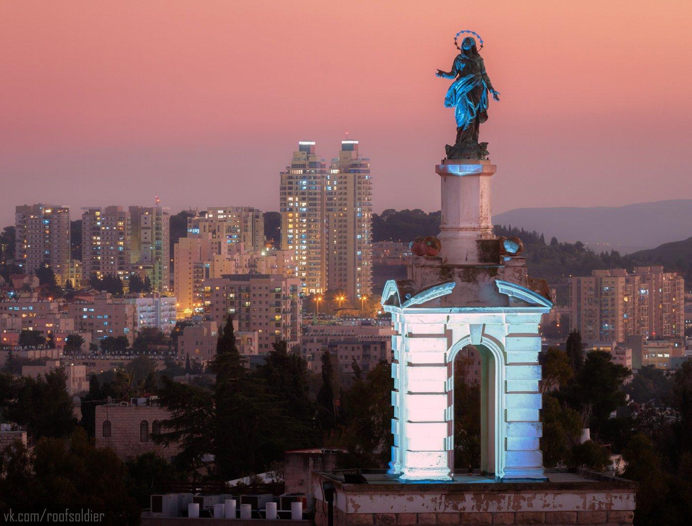 Jerusalem, Israel, sunset, sculpture, madonna, religion, roof, архитектура, крыша, скульптура, Израиль, Иерусалим, закат, Мадонна, религия, Голубев Алексей