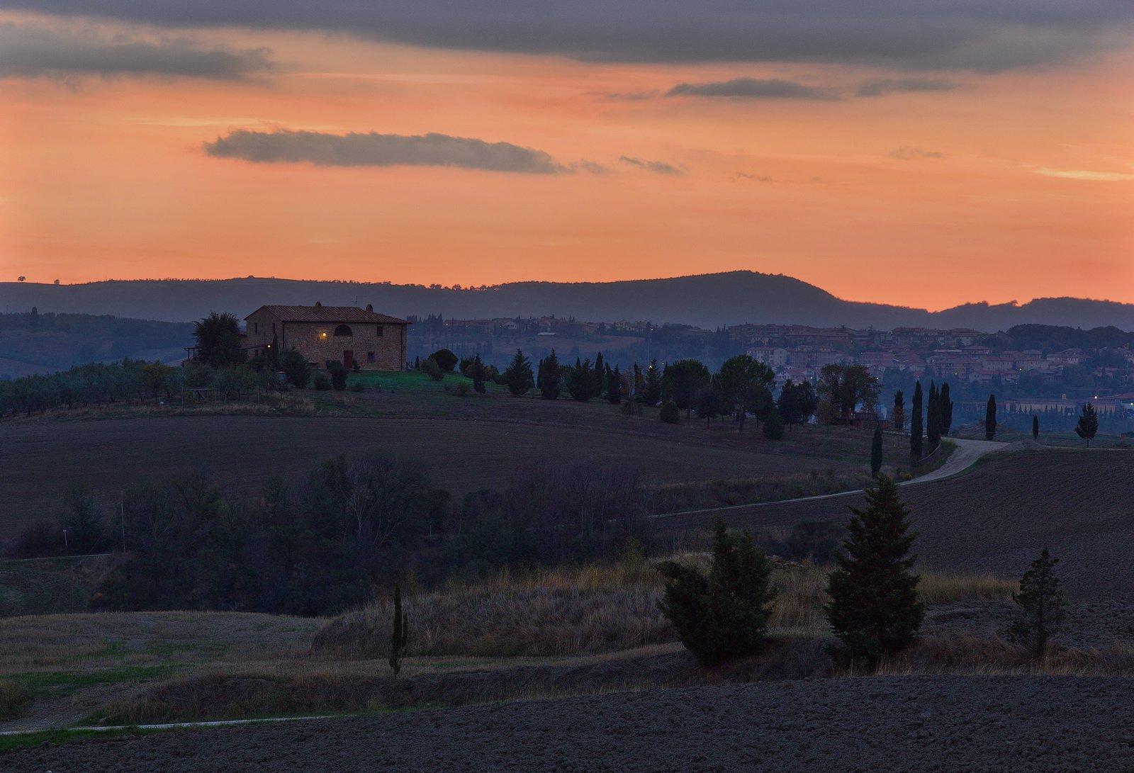 италия, тоскана, закат, Екатерина Богданова