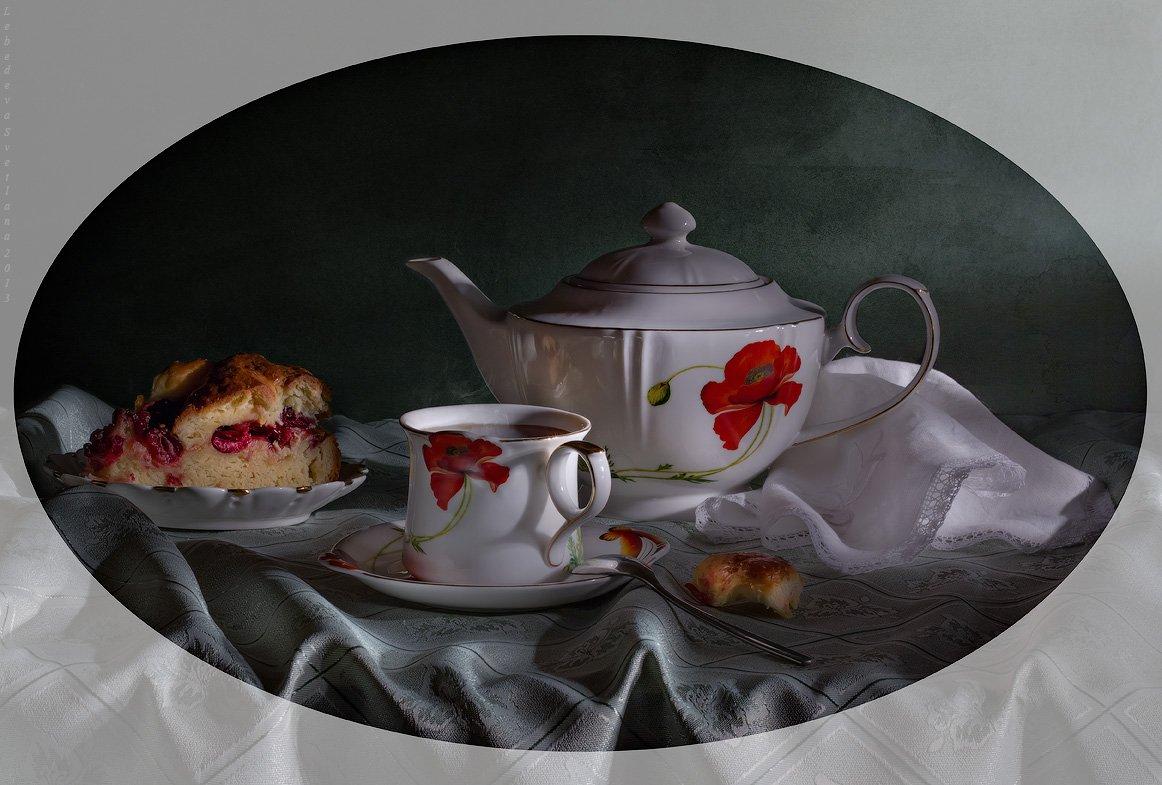 натюрморт,чайник,чай,пирог, Лебедева Светлана