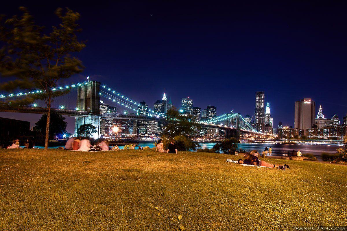 город, люди, ночь, нью-йорк, трава, вода, небоскребы, shining)
