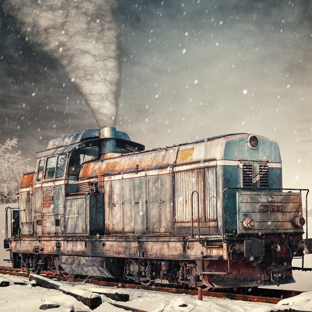 old, train, white, snow, smoke, manipulation, photoshop, tutorials, photomonipulation, Caras Ionut