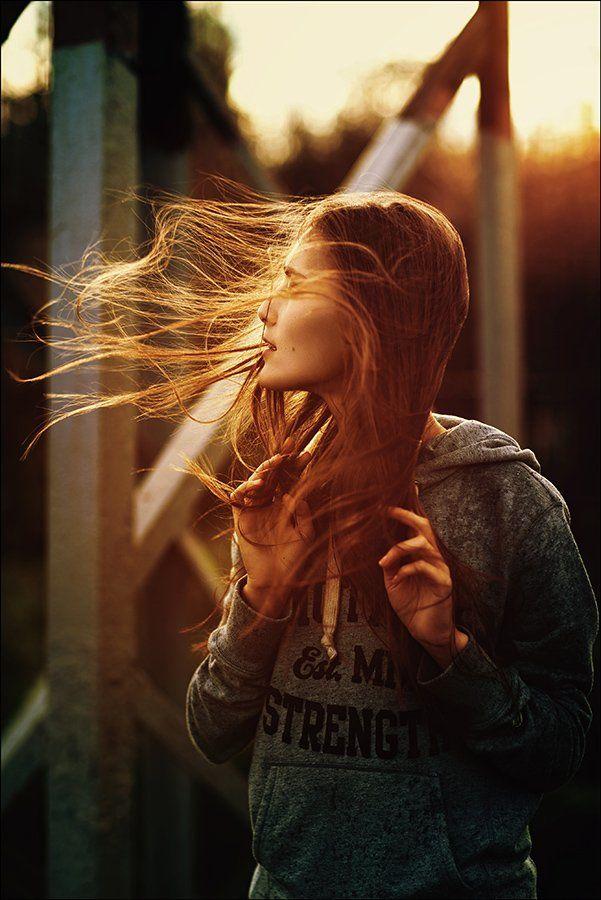 red, autumn, girl, portrait, wind, Данила Лопаткин