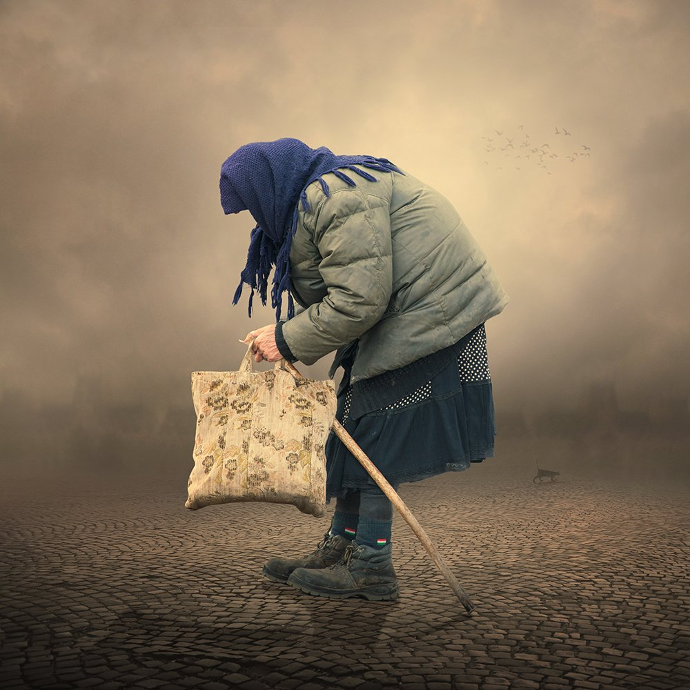 cat, old, woman, alone, toned, smoke, money, bag, photomanipulation, psd, tutorials, Caras Ionut