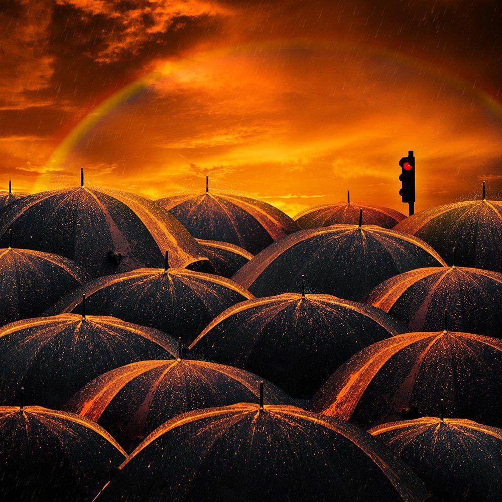 umbrella, light, rain, bright, orange, pole, photoshop, diamond, raimbow, tutorials, Caras Ionut