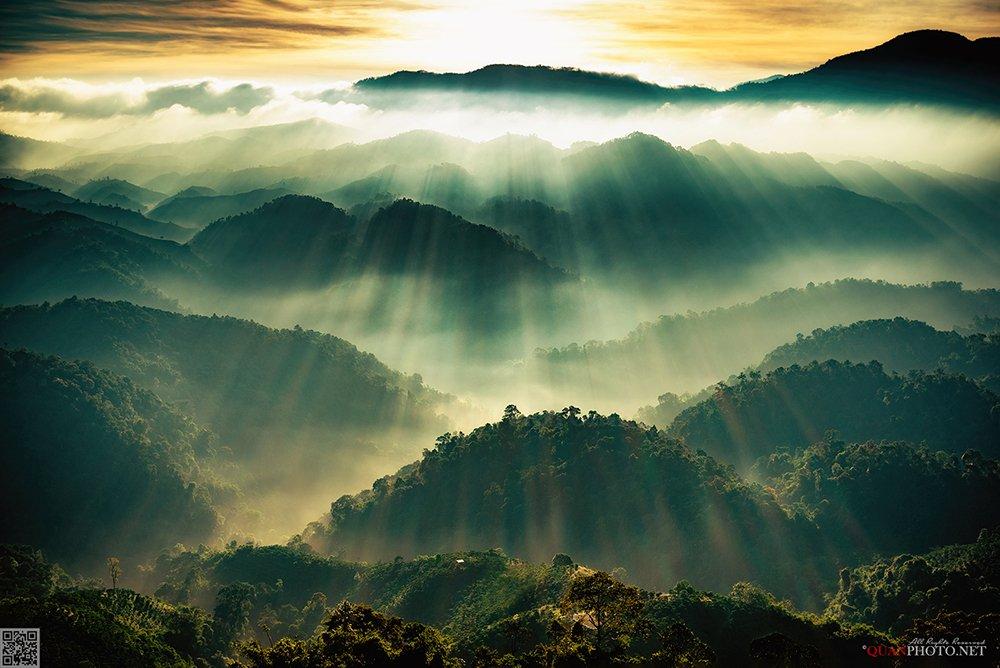 quanphoto, landscapes, morning, dawn, sunrise, rays, mountain, vietnam, quanphoto