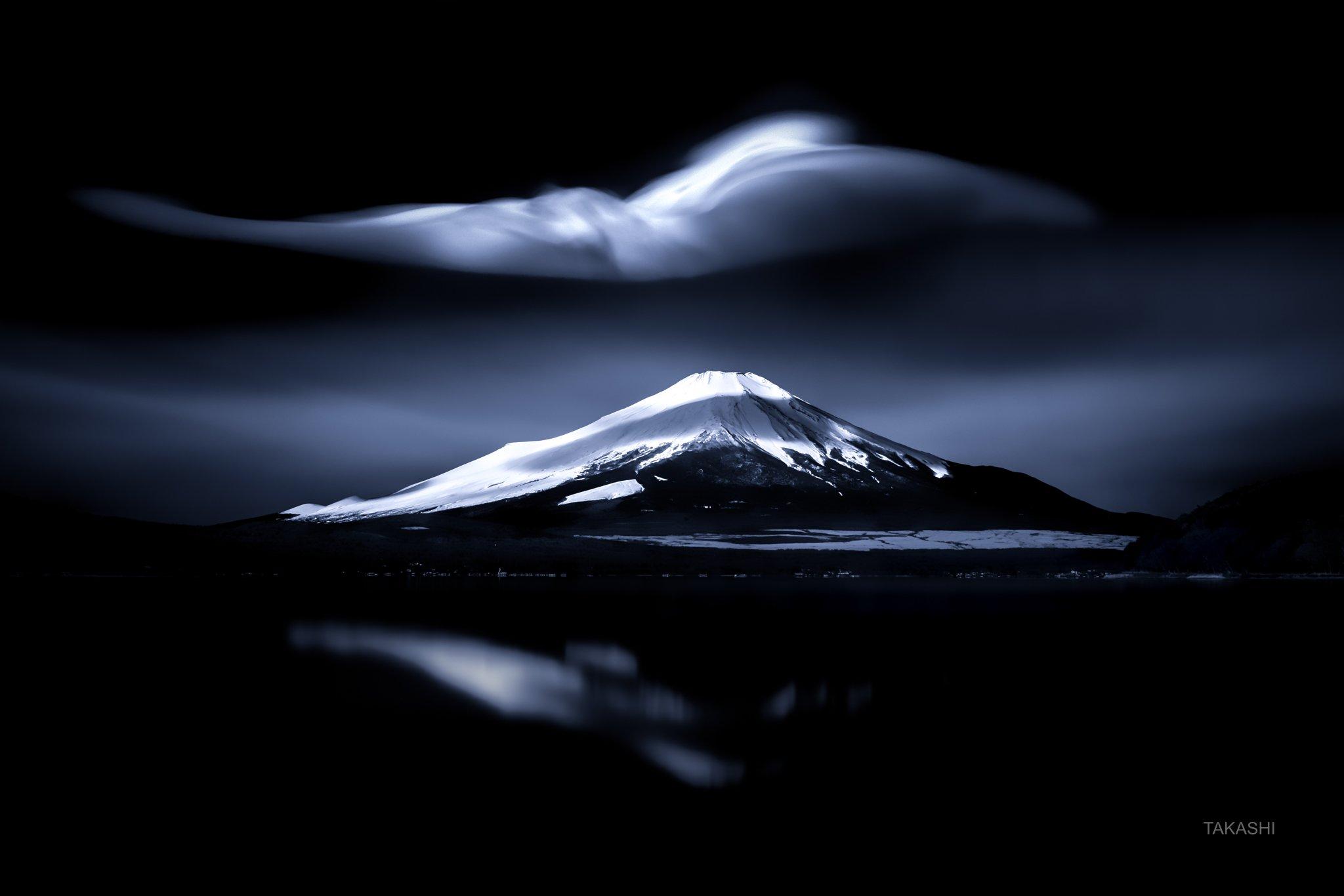 Fuji,Japan,mountain,cloud,snow,lake,reflection, Takashi