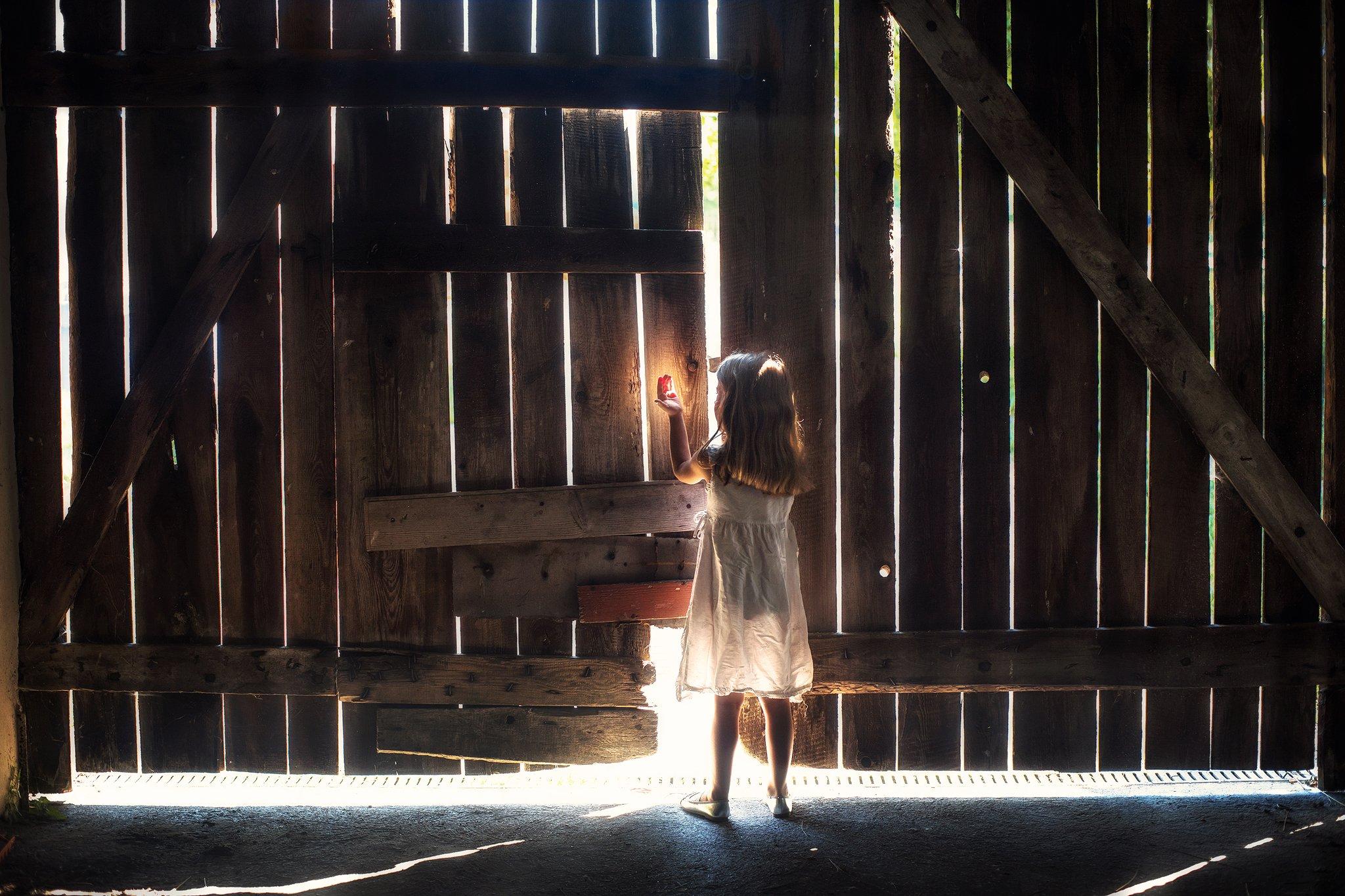 i catch the light barn wood light little girl magic mist dranikowski children kids white dress, Radoslaw Dranikowski