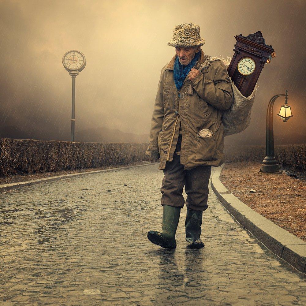 cold, light, rain, bush, man, pole, stone, walking, ground, photoshop, clock, bag, pocket, relection, tutorials, manipulkation, Caras Ionut