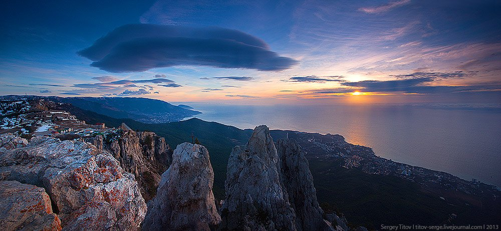 горы, море, солнце, пейзаж, Сергей Титов