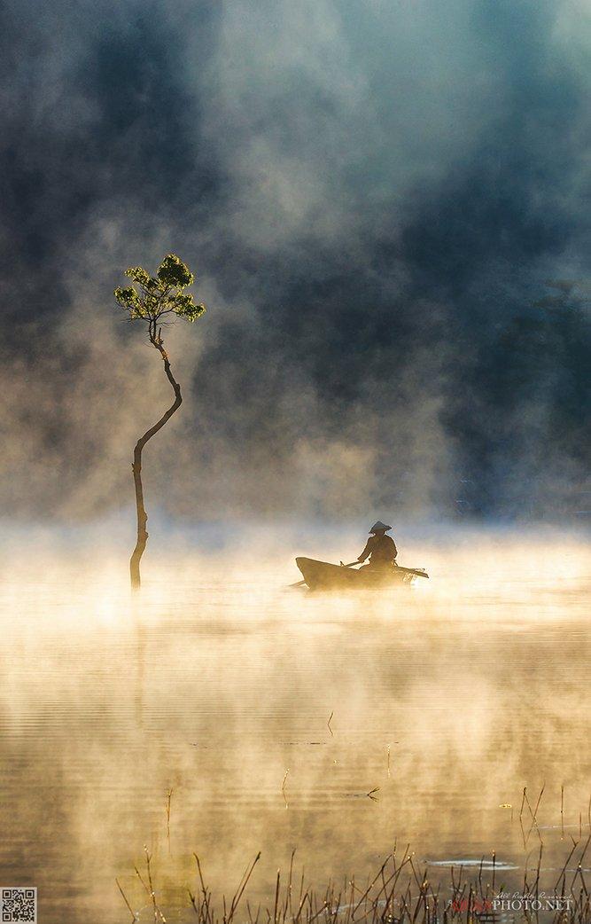 quanphoto, landscapes, morning, sunrise, dawn, misty, foggy, lake, reflections, boat, fishing, plateau, tree, vietnam, quanphoto