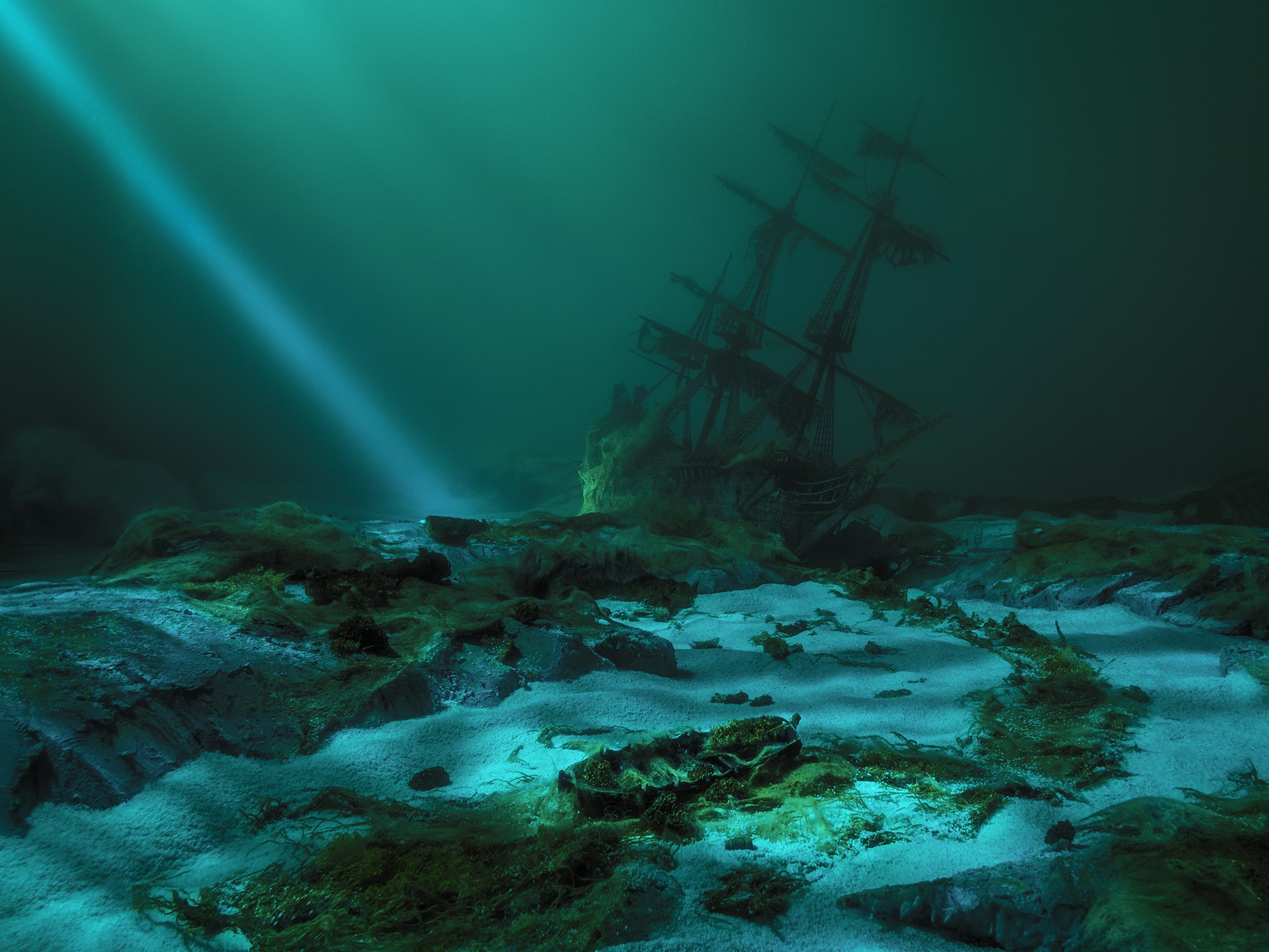 постановочная фотография миниатюра парышков глубина подводная корабль жемчужина art photography parishkov depth mystery ship blackpearl, Парышков Сергей