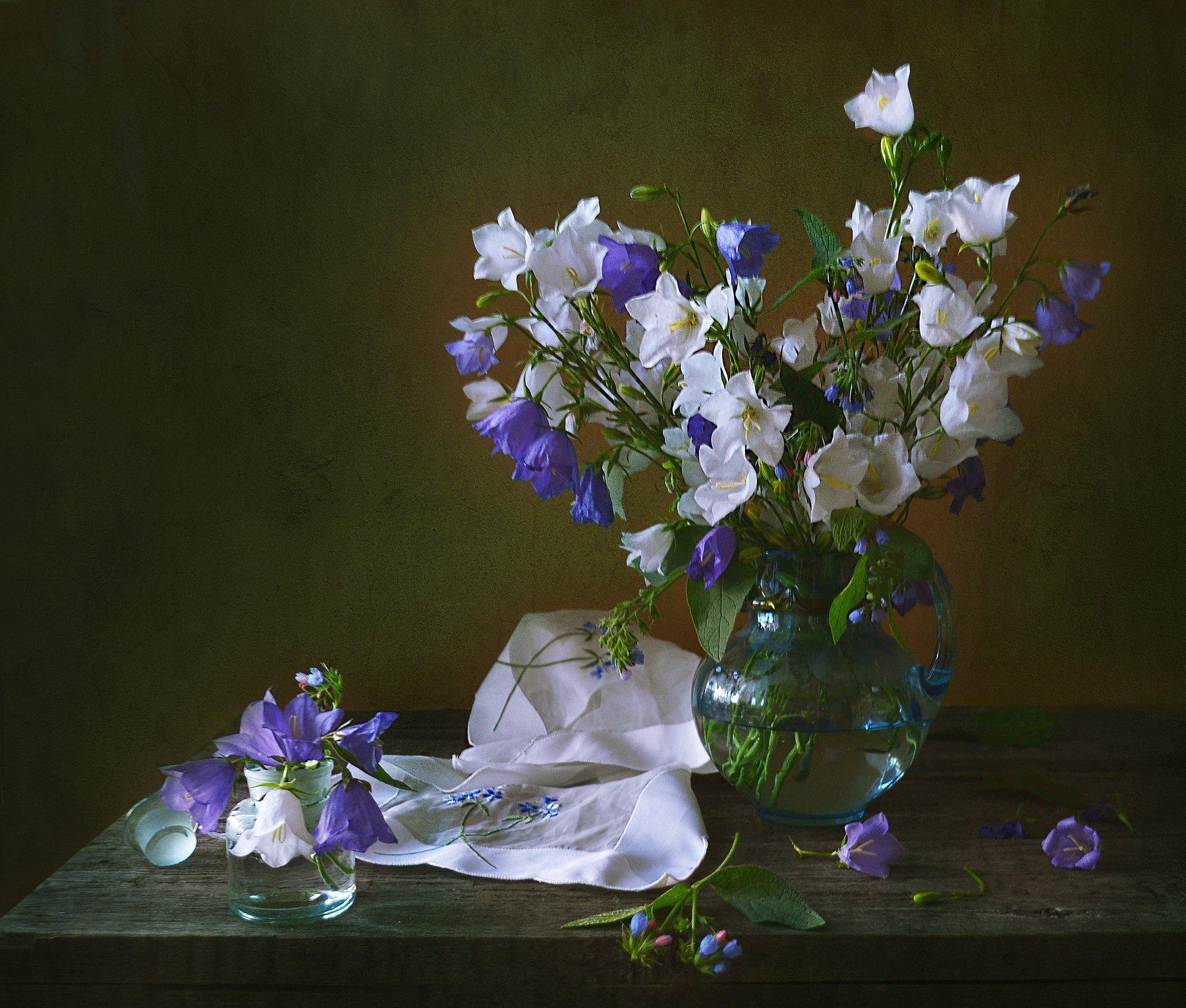 still life, натюрморт, цветы, фото натюрморт, колокольчики, настроение, лето, июль,  вечер, закат,, Колова Валентина