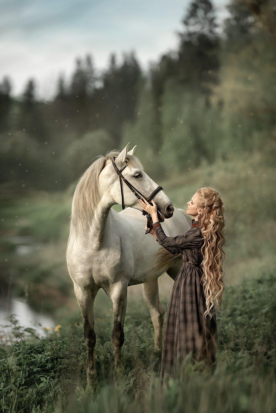 портрет, девушка, женский, портрет, лошадь, Соловьёва Елена