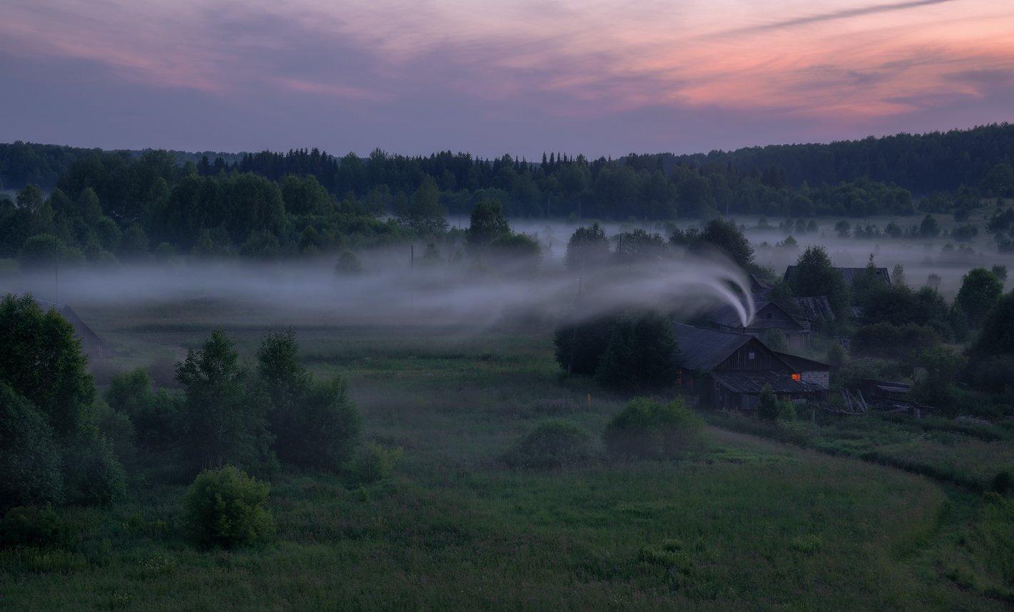 село, сумерки, туман, дымок, Архипкин Александр