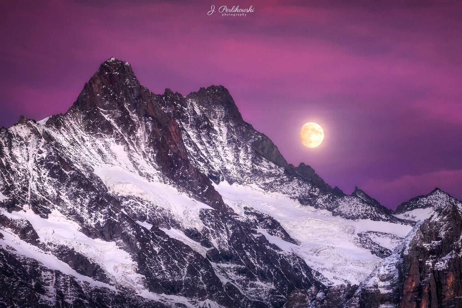 landscape,swiss, switzerland, moon, moon rise, colours, mountains,mountain,, Perlikowski Jakub