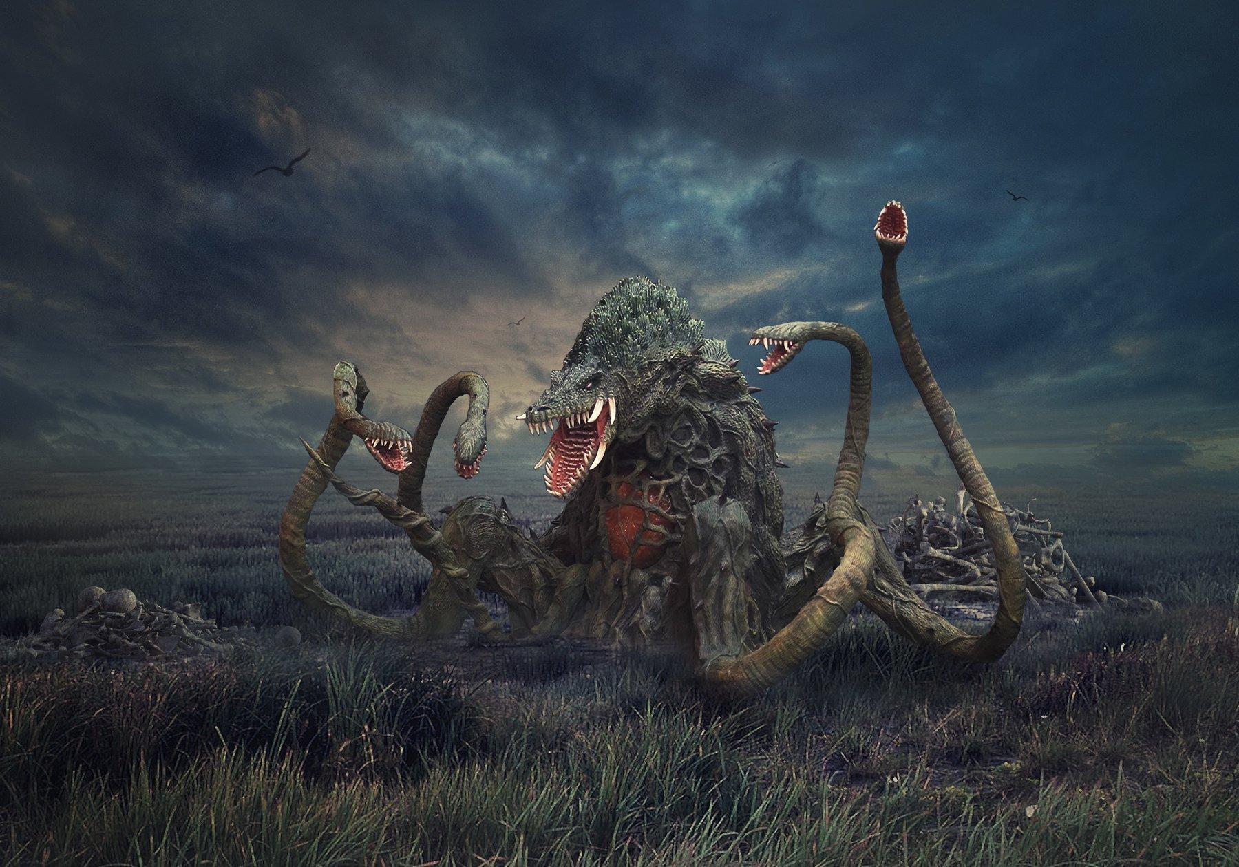 монстр, болото, облака, Sergii Vidov