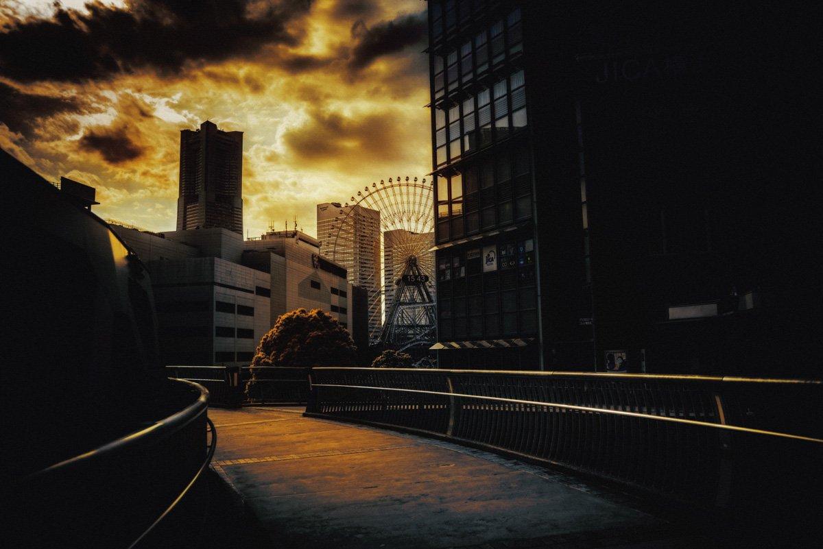 japan yokohama cityscape sky dark shadow, taliana
