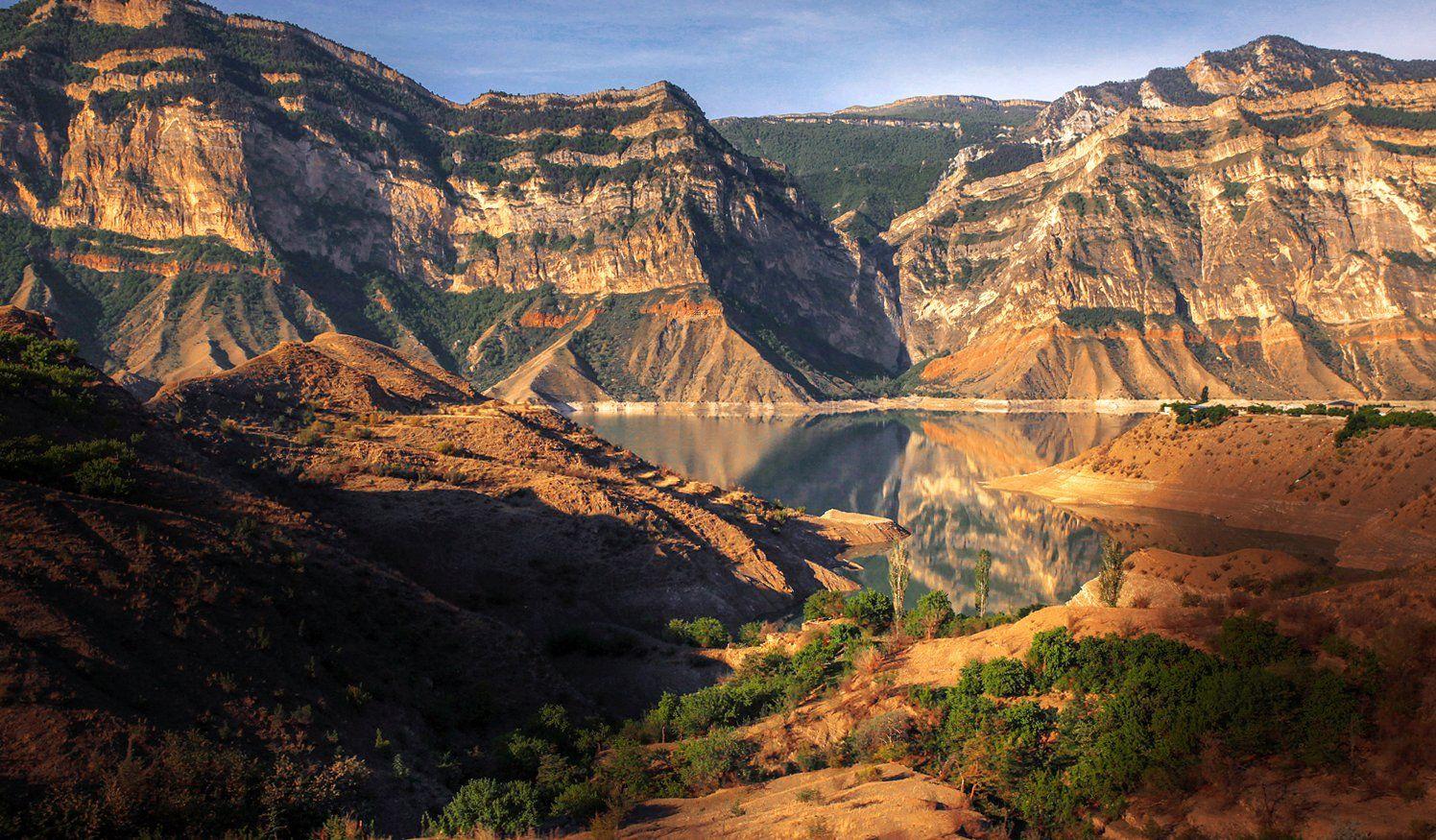 ирганай,водохранилище,горы,вершины,пейзаж,небо,деревья,дагестан,природа, Magov Marat