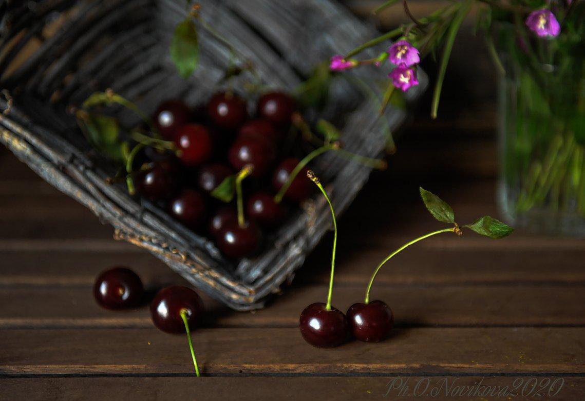 вишни,корзинка,цветочки, Novikova Olga