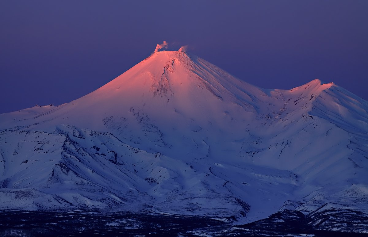 камчатка, вулкан, авача, зима, вечер, закат, Михаил Глаголев
