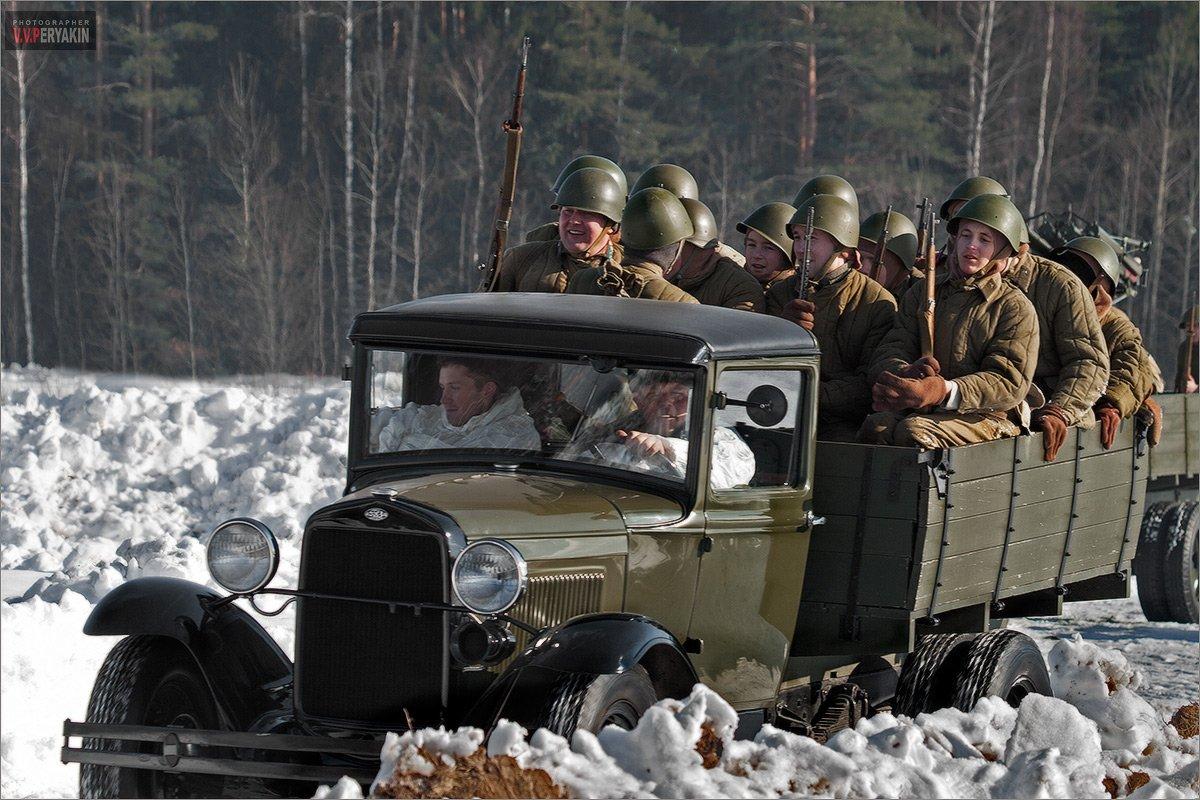 1943, солдаты, реконструкция, гарнизон, а, форма, винтовка, ополчение, добровольцы, авто, полуторка, газ, Виктор Перякин