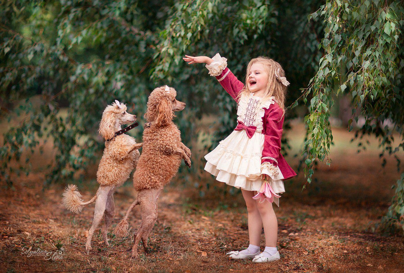 детская фотосессия, фотосессия с животными, пудель, дети, фотограф, Елена Селютина, children photo, kids photographer, Elena Selyutina