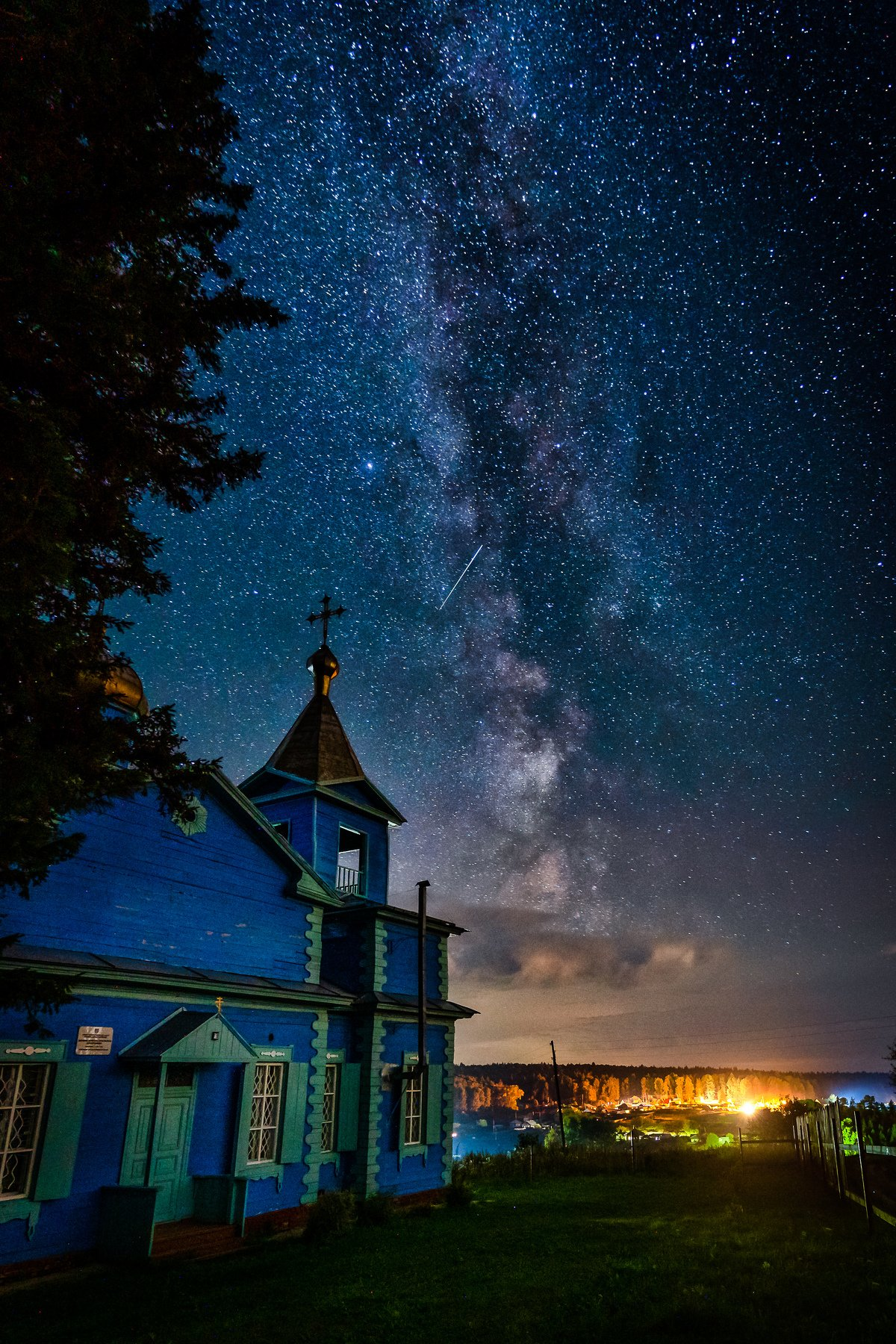 milkyway, night, longexposure, church, siberia, stars,, Алексей Вымятнин