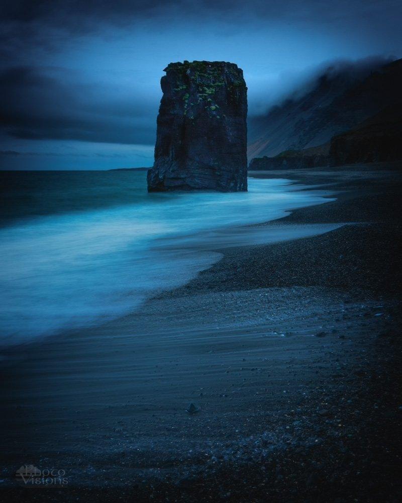 fauskasandur,iceland,night,blue hour,monolith,sea stack,rock,landscape,sea shore,shoreline,coast,, Szatewicz Adrian