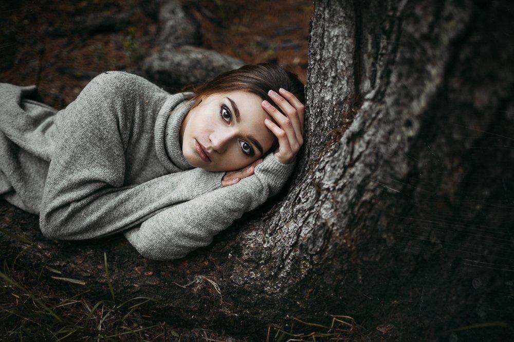 girl, foster, корни, лес, девушка, земля, осень, свитер, дерево, Баласюк Вероника