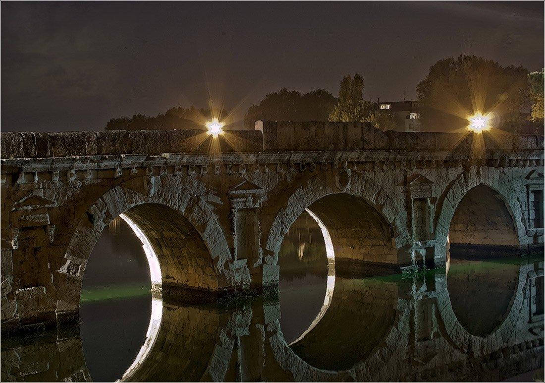 италия, мост тиберия, ночь, римини, foto liubos, Любовь Селиванова