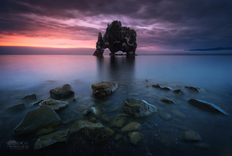 hvitserkur,iceland,sea seascape,sea shore,shoreline,coast,beach,sunset,night,summer, Szatewicz Adrian