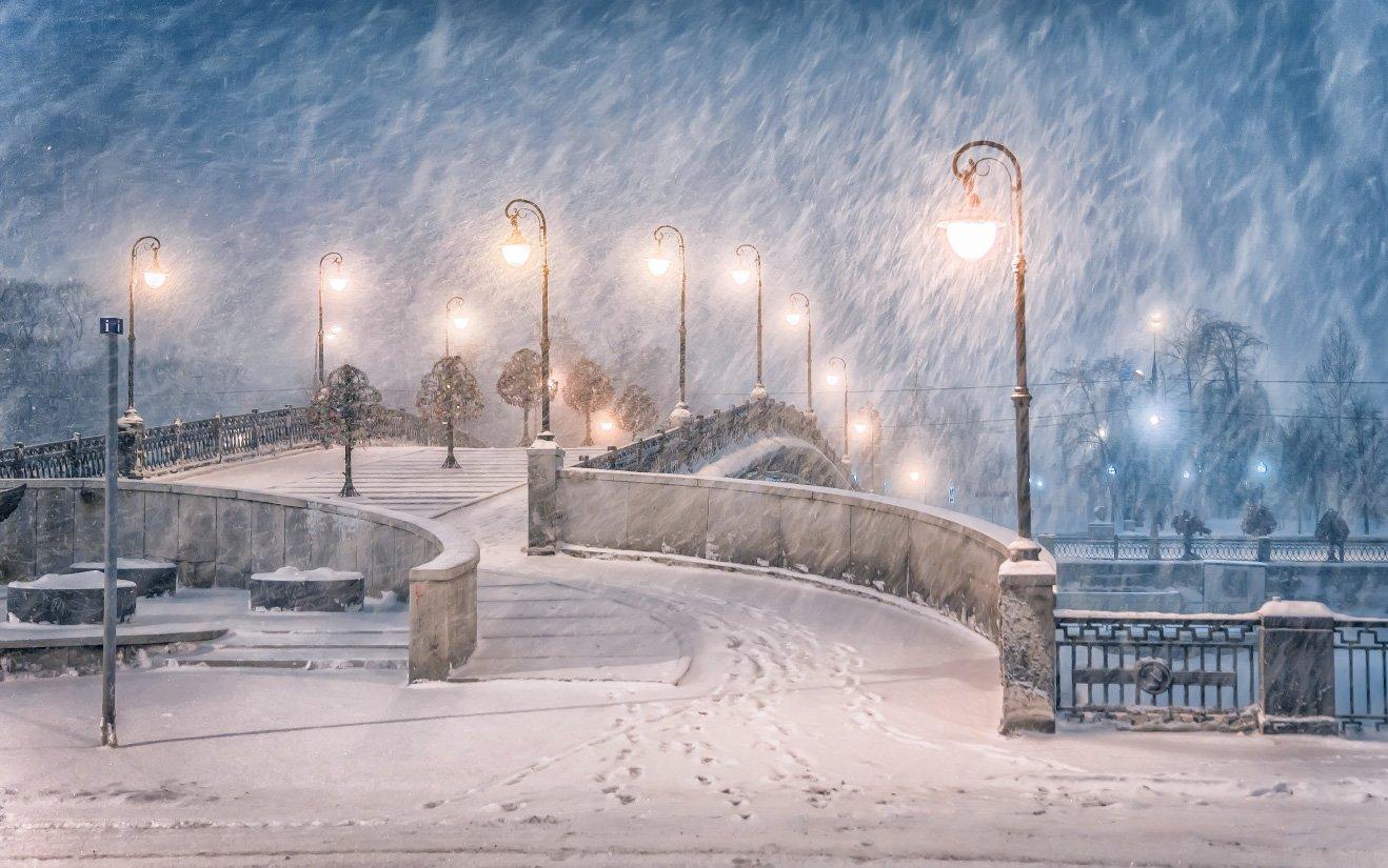 вечер, зима, снегопад, москва, город, Виктор Климкин